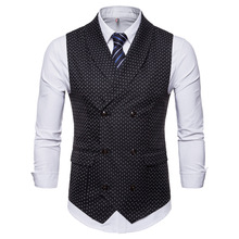 Hong Kong style mens waistcoat business leisure Korean version of pure color double-breasted men clothing