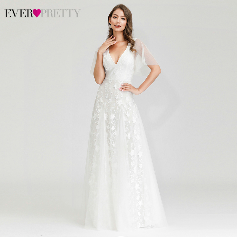 Elegant White Evening Dresses Ever Pretty A-Line Double V-Neck Ruffles Sleeve Floral Lace Formal Dresses For Party Lange Jurk