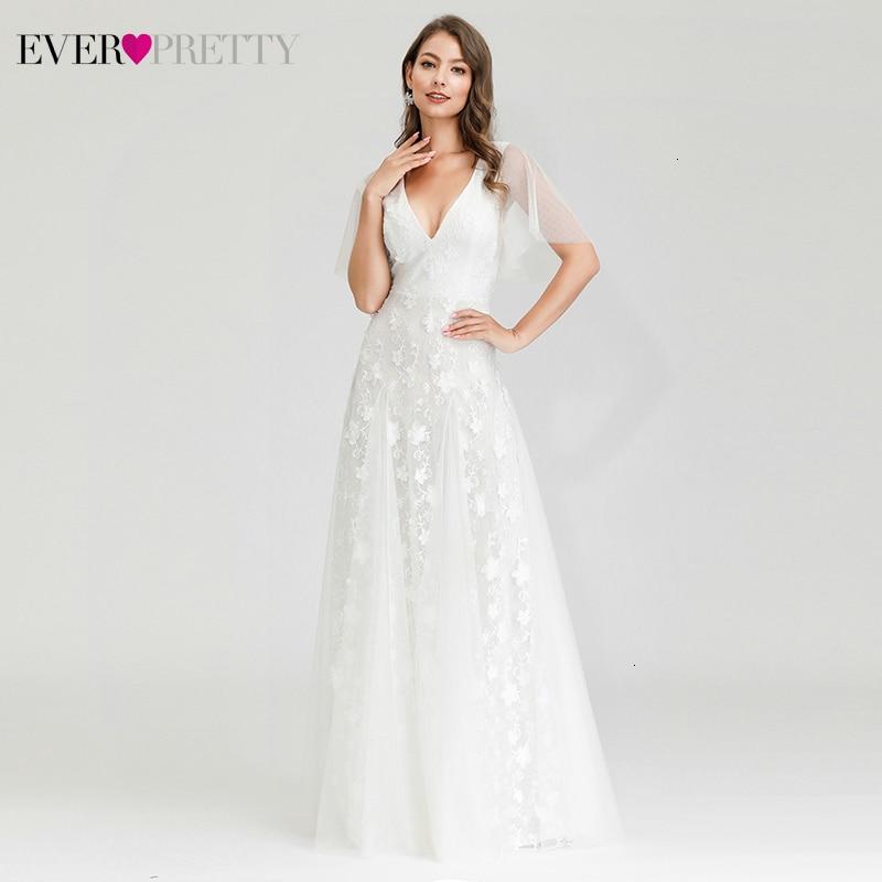 Elegant White Evening Dresses Ever Pretty A-Line Double V-Neck Ruffles Sleeve Floral Lace Formal Dresses For Party Lange Jurk