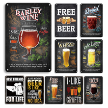 Beer Metal Tin Sign Plaque Metal Vintage Pub Metal Plate Wall Decor for Bar Pub Man Cave Decorative Plates Home Wall Stickers