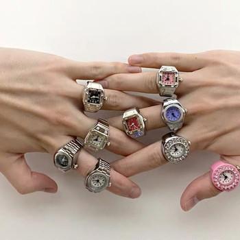 Kreatywne pierścionki Vintage elastyczny rozciągliwy zegarek kwarcowy pierścionki dla kobiet Man Punk Hip Hop fajne kreatywne pierścionki para biżuteria tanie i dobre opinie CN (pochodzenie) Ze stopu cynku Unisex Metal Pierścień pokazowy GEOMETRIC Zgodna ze wszystkimi Poprawiające nastrój