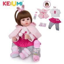 KEIUMI urocza silikonowa lalka Reborn dziewczynka 48cm urocze Reborn Boneca królik maluch nosić płaszcz dla dzieci urodziny Playmate