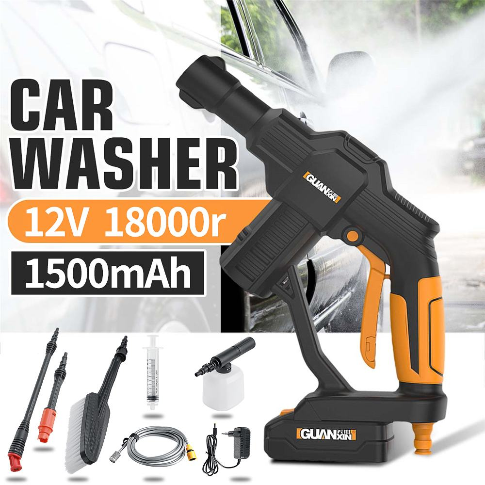 20V 1500mAh Cordless Power Washer High Pressure Car Washer Gun Auto Spray Garden Water  Jet Cleaning Tools Portable Cleaner