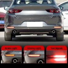 2Pcs For Mazda 3 Mazda3 Axela 2019 2020 Car Rear Fog Lamp LED Rear Bumper Brake Light Dynamic Turn Signal Light Reflector