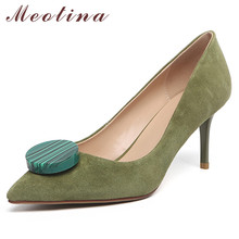 Meotina High Heels Women Pumps Genuine Leather Stiletto High Heels Party Shoes Kid Suede Pointed Toe Shoes Lady Green Size 33-40 cocoafoal woman green high heels shoes plus size 33 43 sexy stiletto red wedding shoes genuine leather pointed toe pumps 2018