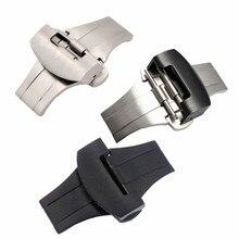 DIY מוברש 20mm 22mm כסף שחור מתכת נירוסטה רצועת פרפר אבזם עבור PAM רצועת השעון אבזם אבזם