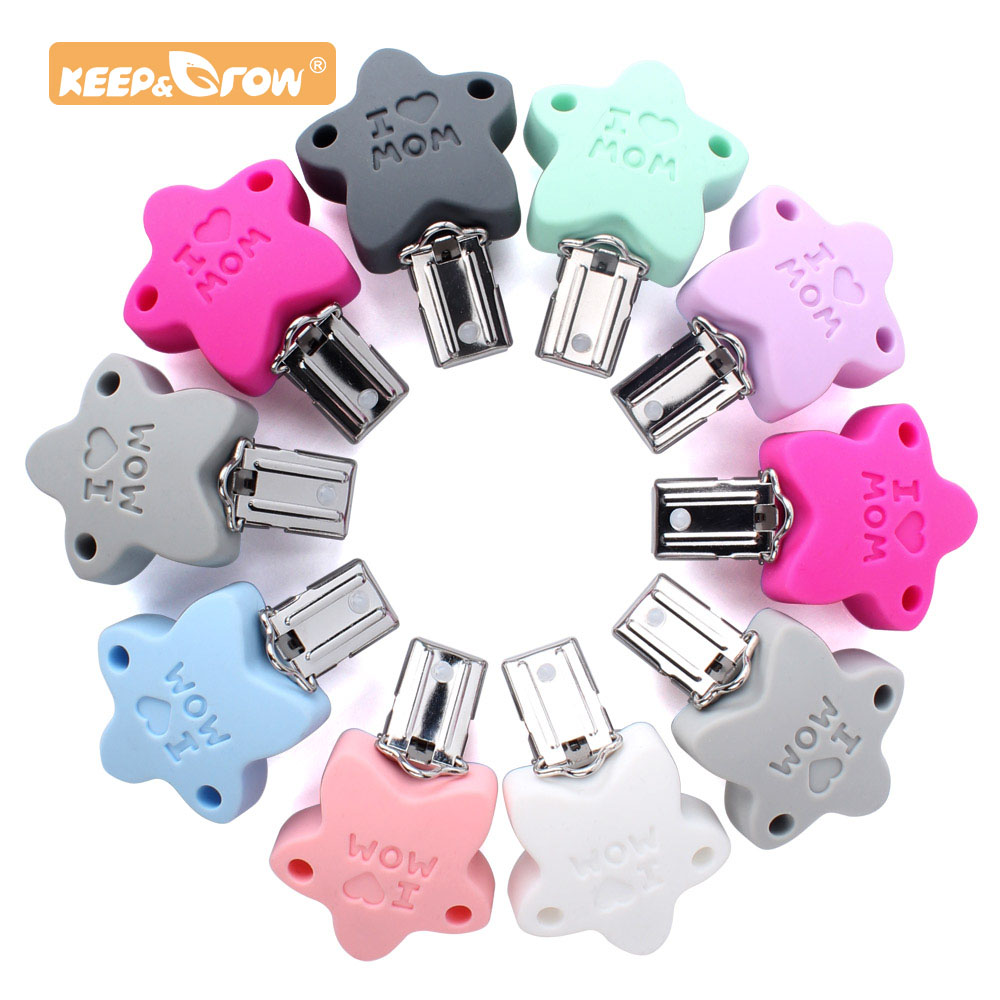 Keep&Grow 20pcs I Love Mom Silicone Teether Metal Clip Pacifier Silicone Accessories DIY Baby Teething Necklace Pendant Clamp
