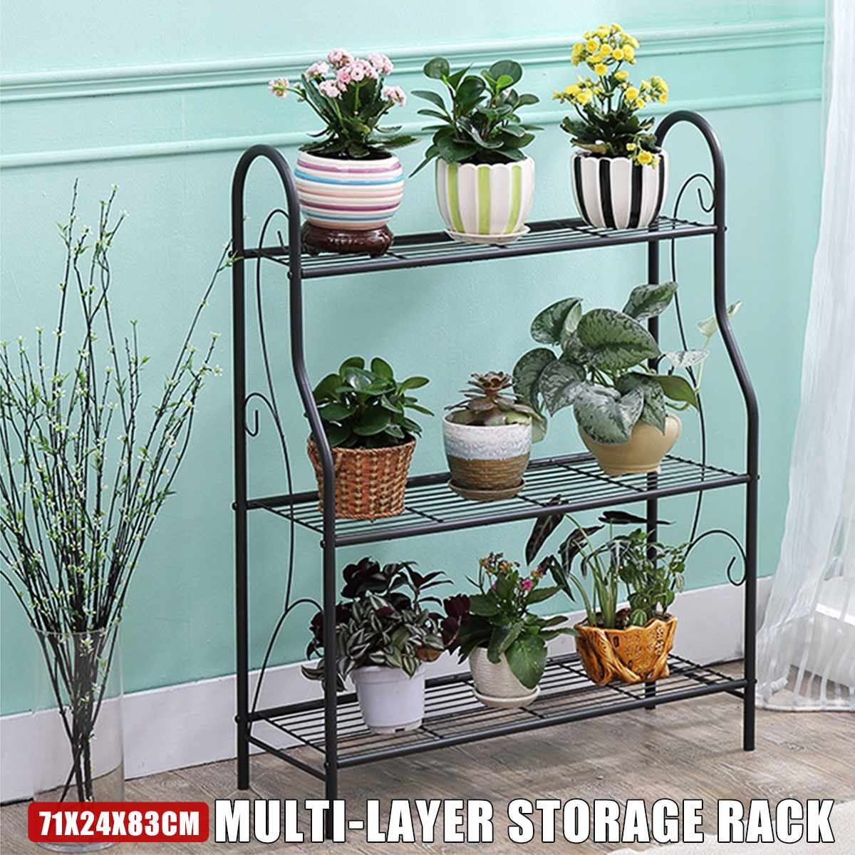 3 Layers Iron Outdoor Garden Plant Shelves Storage Shelf Simple Assembly Removable Bedroom Flower Pot Iron Rack For Balcony