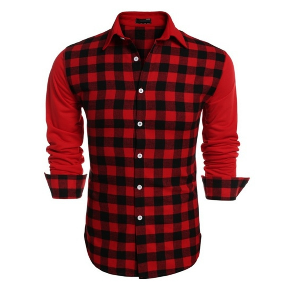 Image 2 - ZOGAA Mens Long Sleeve Dress Shirt Up Casual Plaid Patchwork Shirt Mens Lapel Slim Fit Dress Shirt Men Fashion Blouse Undershirt-in Casual Shirts from Men's Clothing