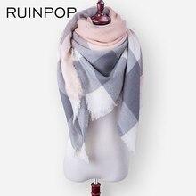 RUINPOP, Модный женский зимний шарф, роскошный клетчатый шарф, шарфы, Женский треугольный бандаж, бандаж, Женский мягкий теплый шарф