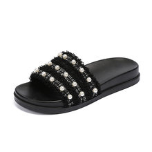 Women Slippers Flip-Flops Ladies Casual-Shoes Summer Pearl Flats Bottom Elegant Female