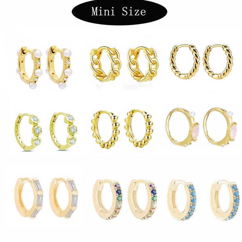 Moonmory 2020 100% Real 925 Sterling Silver Huggie Hoop Earrings With Stones Rainbow Spike Earrings With CZ For European Women