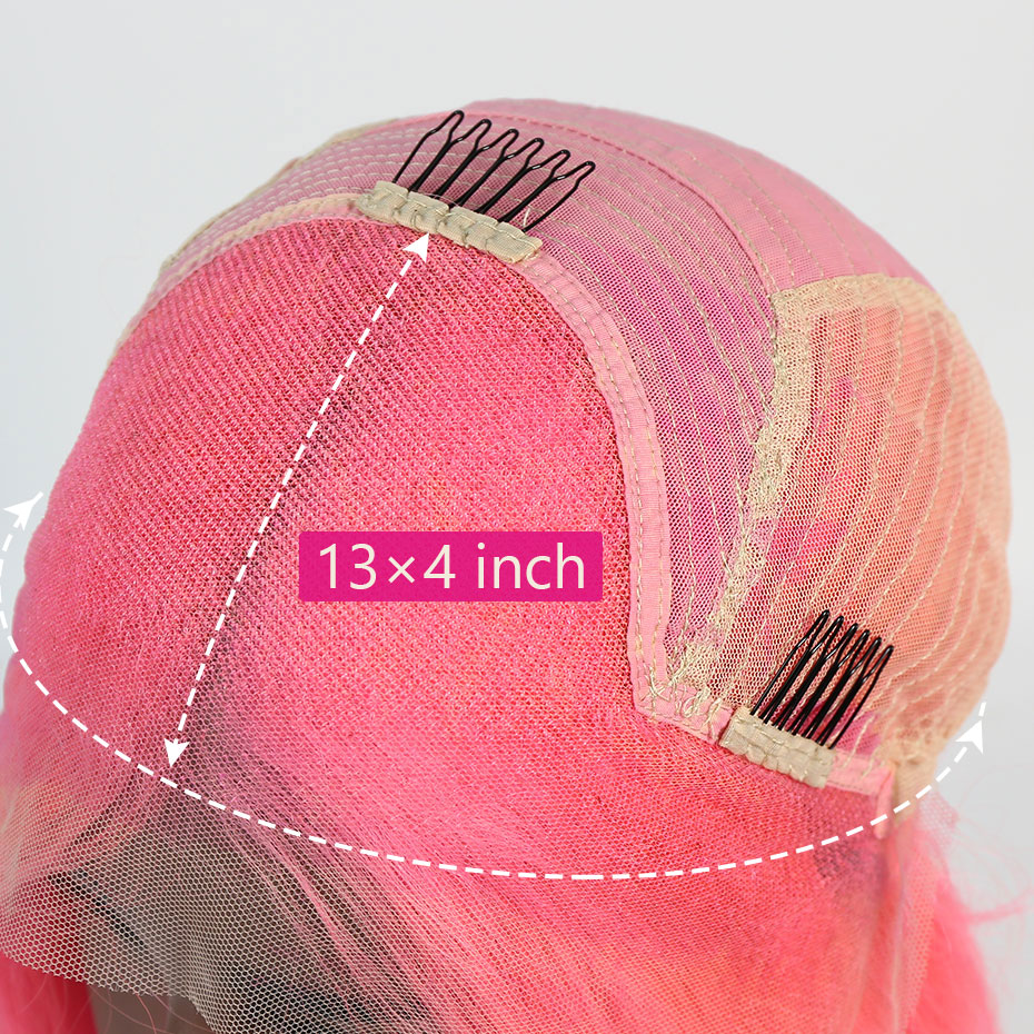 Liweike Short Bob 12 Inches Straight 13*4 Lace Front Wig Rosy Grey Red Pink Color Green Brazilian Remy Human Hair Glueless Wigs