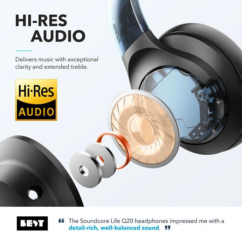 Anker Soundcore Life Q20 Hybrid Active Noise Cancelling Headphones, Wireless Over Ear Bluetooth Headphones