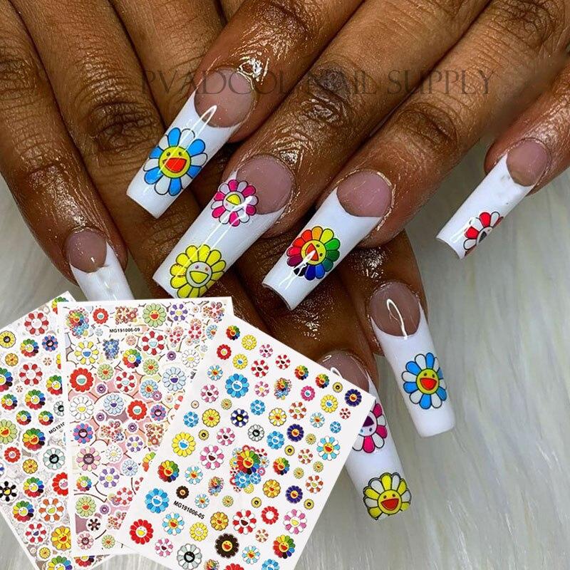 Наклейки для ногтей 3D счастливый подсолнух цветок наклейки самоклеящиеся слайдеры Фольга для ногтей украшение для маникюра