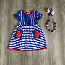 baby girls summer dress girls back to school dress blue stripe dress girls blue yello dress girls apple dress with accessories cheap girlymax COTTON Knee-Length Crew Neck REGULAR Short Casual Fits true to size take your normal size PATTERN BTS-DXQZ-580732
