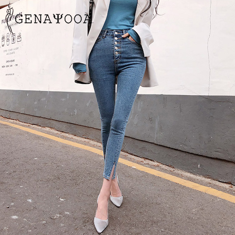 Genayooa Autumn 2019 Skinny Push Up Womens Jeans Denim Women With High Waist Jeans Stretch Streetwear Demin Pencil Pants Korean