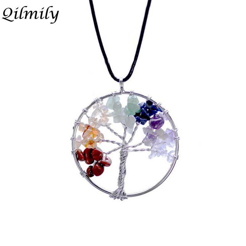 Qilmily 7 Chakra Tree of Life Crystal Natural Stone Pendant Necklaces for Women Men Beads Quartz Jewelry Gifts Souvenirs Wedding