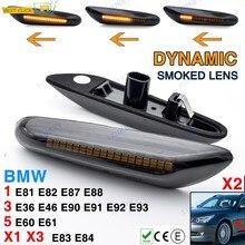 2 sztuk dynamiczny boczne płynącej światła dla BMW E46 E90 E83 E X1 X3 światła Led do stylizacji samochodu po stronie żarówka do kierunkowskazów przydymione soczewki