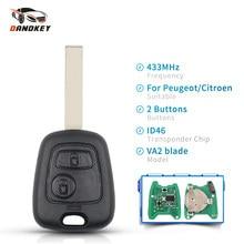 Dandkey 2 кнопки 433 МГц пульт дистанционного управления для Peugeot 307 Citroen C1 C3 чехол для автомобильного ключа VA2 Blade ID46 PCF7961 чип