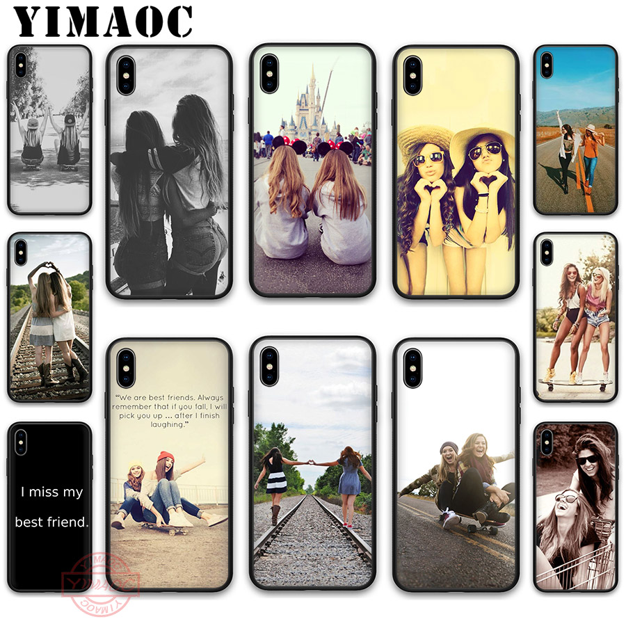 YIMAOC Happy Best Friend Card <font><b>Bff</b></font> Soft Silicone <font><b>Case</b></font> Cover for Apple <font><b>iPhone</b></font> 5 5S <font><b>SE</b></font> 6 6S 7 8 Plus X XS XR 11 Pro Max Back Shell image