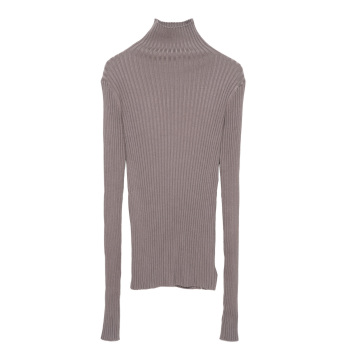 цена на Ribbed Turtleneck Neck Sweater Women Cotton Mock Neck Sweaters Pullover Knitted Tops With Thumb Hole