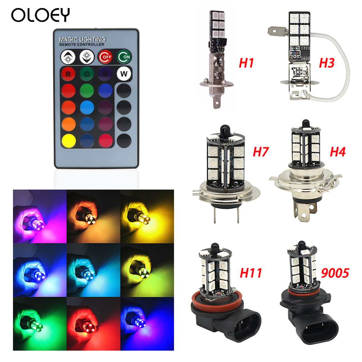 2x H11 H9 H8 5050 LED 27SMD RGB Car Headlight Fog Light Lamp Bulb Remote Control