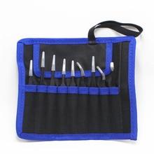 9 teile/satz ESD Anti Statische Edelstahl Pinzette Set Kit Mit Tasche Für Elektronik Schmuck Präzision Reparatur Werkzeuge