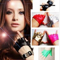 Fashion Half Finger Fingerless Pu Leather Gloves Ladys Driving Show Pole Dance Mittens For Women Men Trendy Apparel Accessories