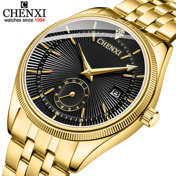 CHENXI Gold Watch Men Watches Top Brand Luxury Famous Wristwatch Male Clock Golden Quartz Wrist Watch Calendar Relogio Masculino 1