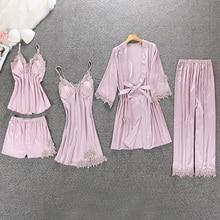 Черный сексуальный женский халат и платье, комплекты, КРУЖЕВНОЙ ХАЛАТ И Ночное платье, одежда для сна, Женский комплект для сна, искусственный шелк, халаты, ночная рубашка, 5 шт./лот