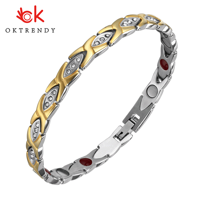 OKtrendy Crystal Gem Woman Magnetic Bracelet Health Energy Gold Fashion Jewelry Lady Weight Loss Anti-fatigue Jewelry Bracelets