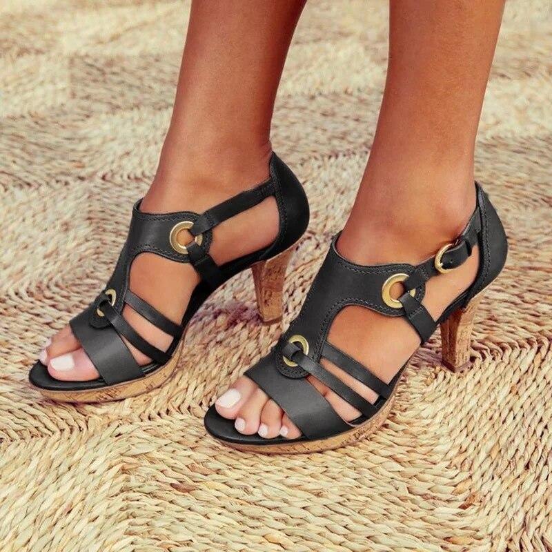 KWBEFRT 2020 Summer Sandals Women Open Toe Gladiator Shoes Women Ring Fashion Shoes Flats Metal Buckle Thin Heels Dropshipping(China)