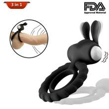 Двойные кольца Кролик уши дизайн Вибрационный массажер персональный уход стимулятор задержки массажные кольца инструменты
