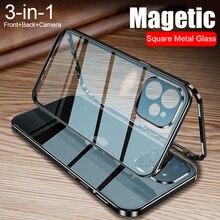 360 דו צדדי מגנטי ספיחה מתכת מקרה עבור iPhone 12 מיני 12 11 פרו XR X XS מקס זכוכית כיסוי מצלמה עדשת מגן סרט