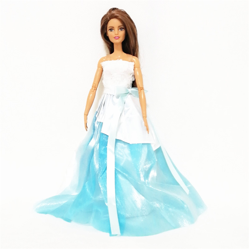 Fashion White Blue Princess Long Dress forBarbie Doll Clothes Accessories Play House Dressing Up Costume Kids Toys Gift in Dolls Accessories from Toys Hobbies