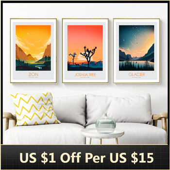 Canvas Painting Landscape Wall Art Nature Scenery Glacier Nordic Zion Poster and Prints Decor Picture for Living Room Decor image