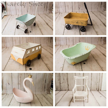 Iron Basket Newborn Photography Prop Baby Boy Girl Photo Shoot Studio Posing Trolley Car Basket fotografia Wood Chair Accessory