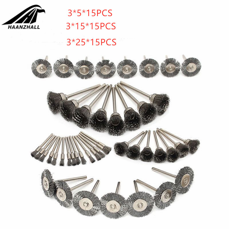 45pcs Mini Rotary Stainless Steel Wire Wheel Wire Brush Small Wire Brushes Set Accessories For Dremel Mini Drill Rotary Tools