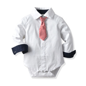 Image 5 - Baby Boy Tie Formal Clothing Vest Romper Suit for 9 24 Months Baby Hat Suits White&Red Party Birthday Kid Gentleman Clothes