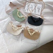 Прозрачная женская сумка через плечо из ПВХ модная маленькая