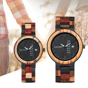 Wristwatch Women Wood Bobo Bird Show Ladies Quartz Date Couple Saati Gift Bayan Kol Male