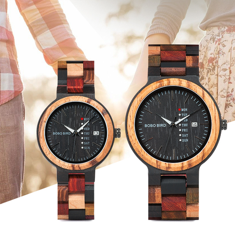 BOBO BIRD Wood watch Lover Couple Watches Men Show Date Ladies Wristwatch Women Quartz Male bayan kol saati Gift in Wood Box Pakistan