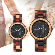 Bobo pássaro relógio de madeira amante casal relógios masculinos mostrar data senhoras relógio de pulso feminino quartzo masculino bayan kol saati presente na caixa de madeira