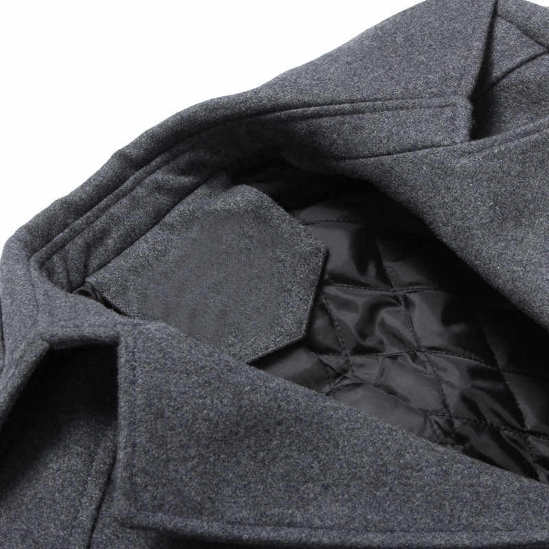 가을 울 코트 남성 패션 슬림 피트 롱 자켓 두꺼운 겨울 트렌치 코트 남성 오버 코트 캐주얼 윈드 브레이커 LWL637