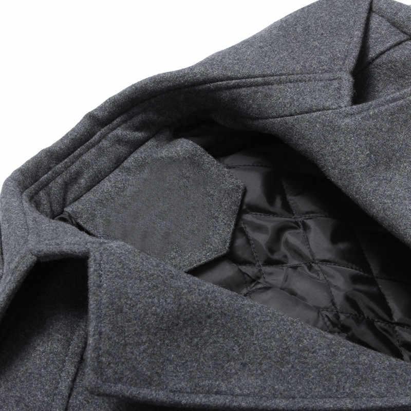 Outono casaco de lã dos homens moda magro ajuste longo jaquetas grossas trench casacos inverno masculino casaco casual blusão lwl637