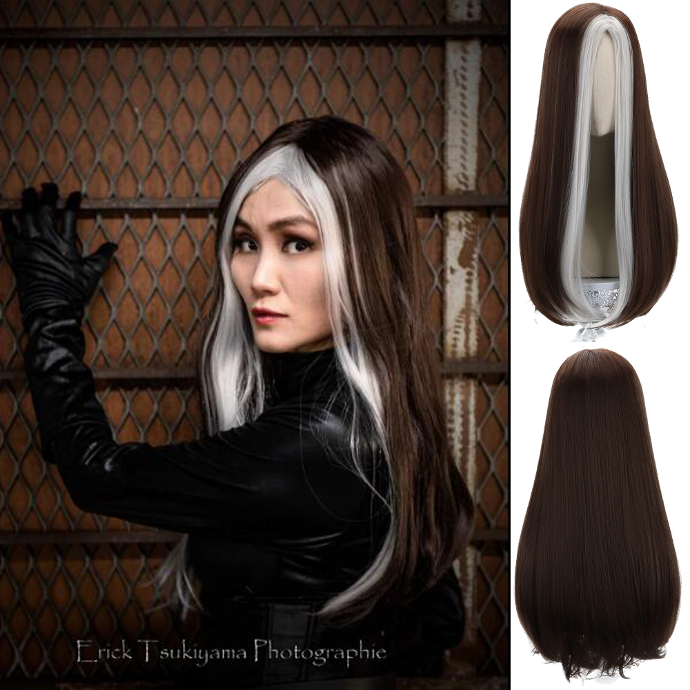 Comic Movie Rogue Storm Mystique Long Brown White Reddish Cosplay Synthetic Hair Wigs for Women Girls Party Costume Halloween