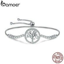 BAMOER Hot Sale 100% 925 Sterling Silver Tree of Life Tennis Bracelet Women Adjustable Link Chain Bracelet Silver Jewelry SCB035