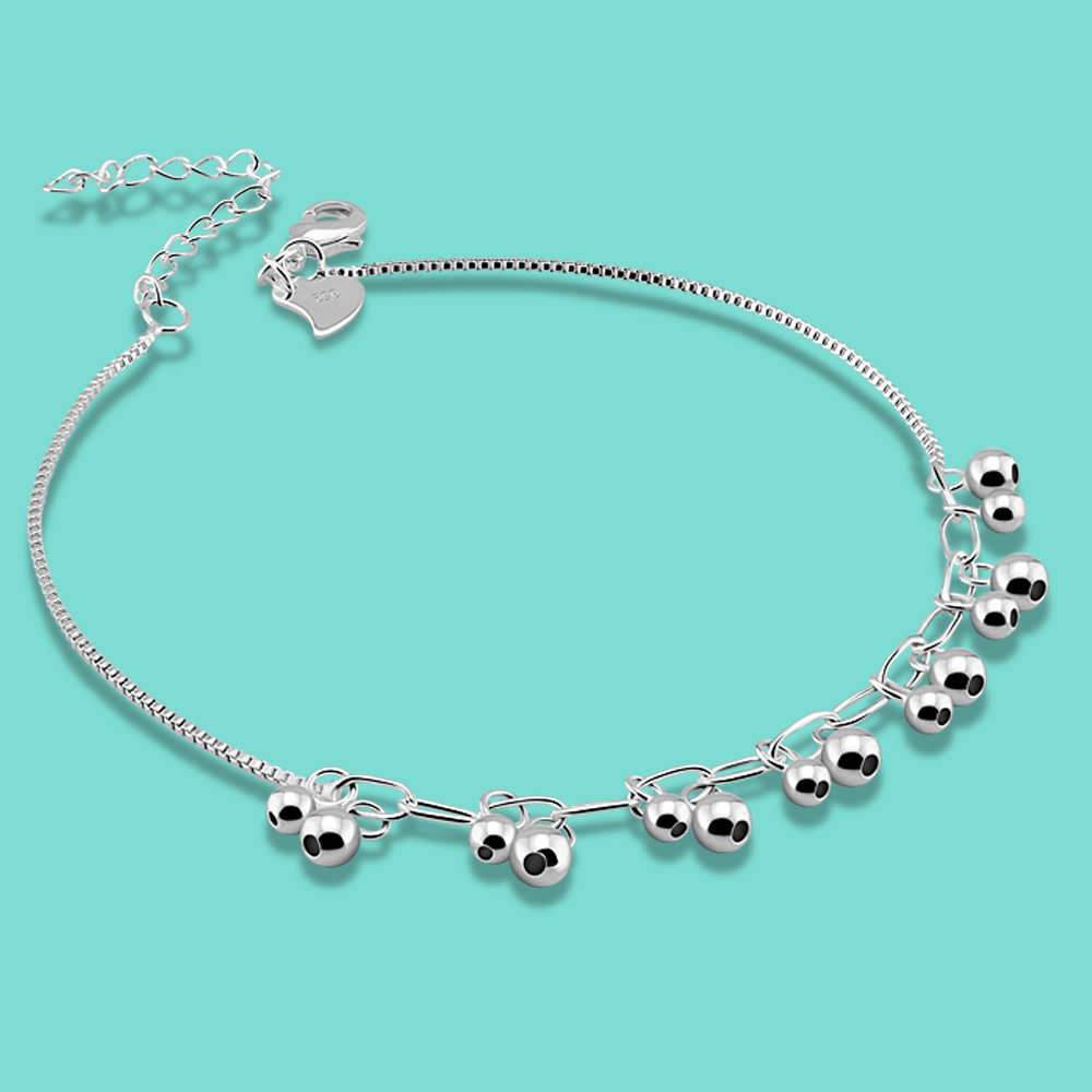 women's 925 sterling silver anklets beads pendant design lady summer foot Silver jewelry Not allergic 27cm Solid silver chains