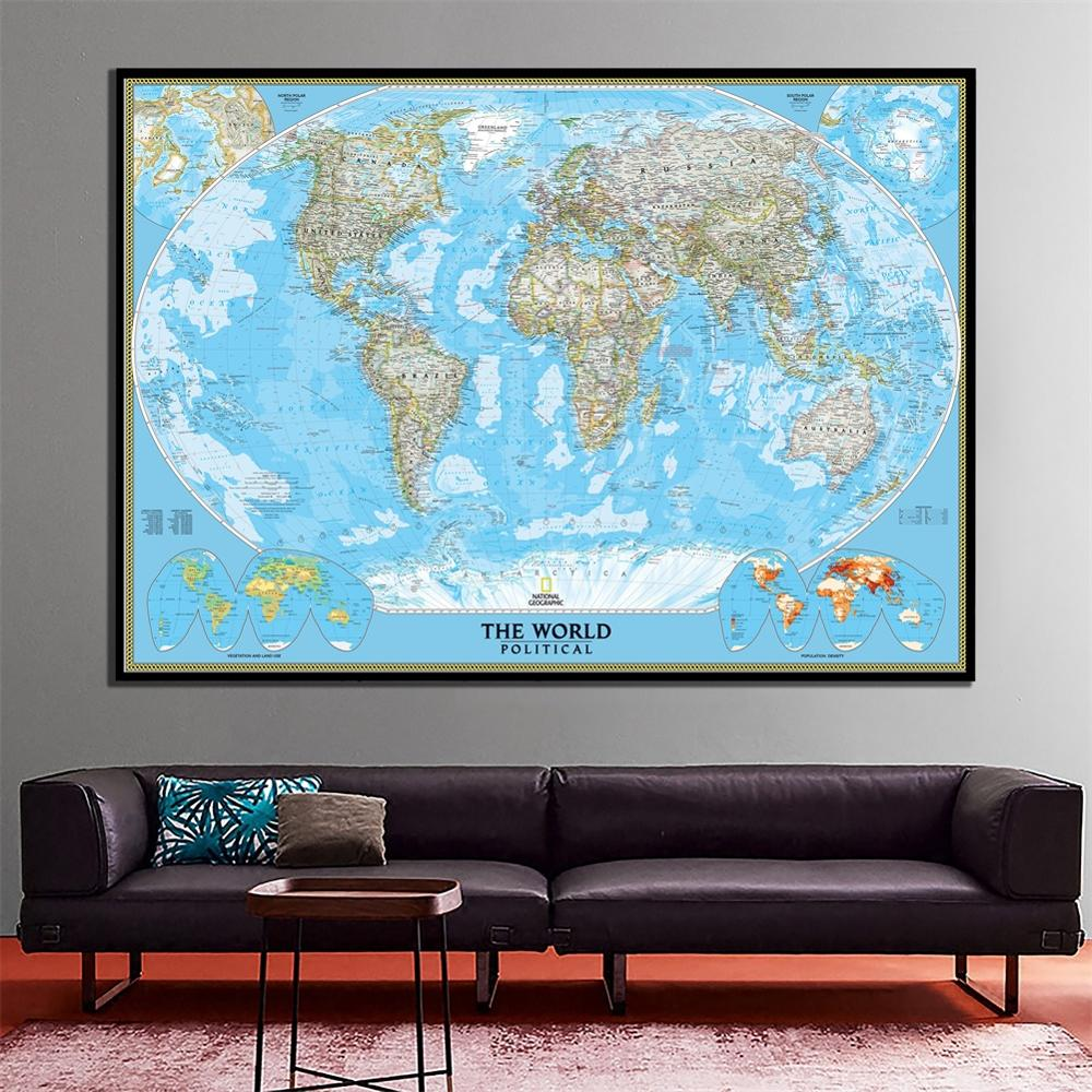 2011 Edition The World Political Map With Population Density HD World Map Wall Decor Canvas Painting For Home Decor Crafts 2x3ft